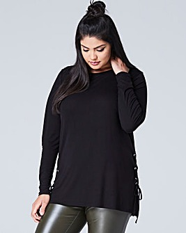 Black Side Split Lace Up Tunic