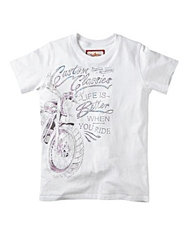 Joe Browns Boys White Motorcycle Print T