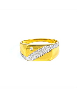 Gold Plated Silver Gents Diamond Ring