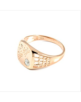 Rose Gold Silver Gents Diamond Ring