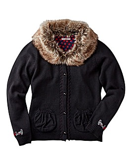 Joe Browns Girls Fur Trim Cardigan