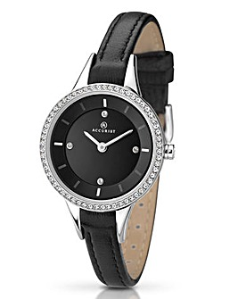 Accurist Ladies Black Strap Watch