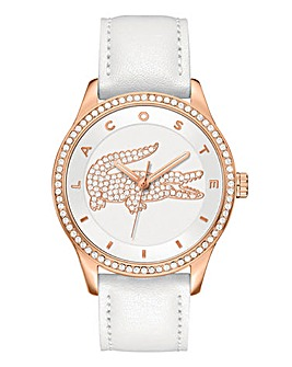Lacoste Rose Tone White Strap Watch