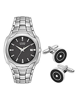 Citizen Gents Watch and Cufflinks Set