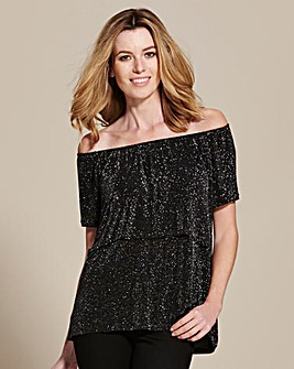 Silver/Black Glitter Frill Bardot Top