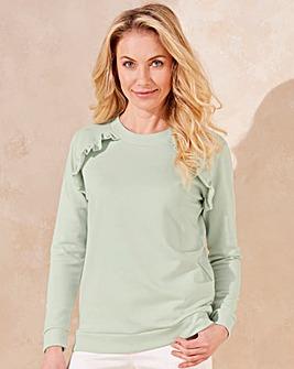 Mint Ruffle Shoulder Sweatshirt