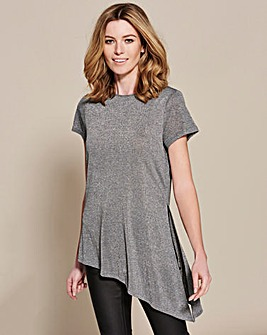 Grey Stripe Asymmetric Glitter Top