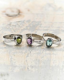 Gemstone Split Shank Ring