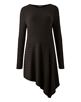 Black Asymmetric Rib Tunic