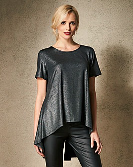 Black Glitter Split Back Glitter Top