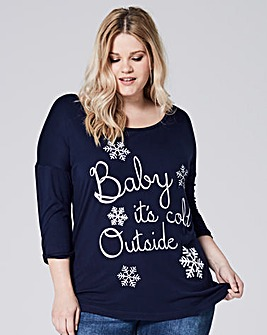 Navy 3/4 Sleeve Christmas T-shirt