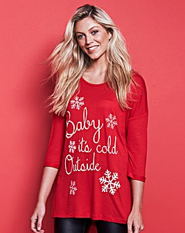 Red 3/4 Sleeve Christmas T-Shirt