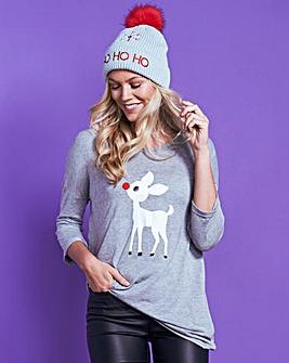 Grey Marl 3/4 Sleeve Christmas T-Shirt