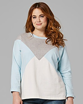 Aqua/Grey Colour Block Sweatshirt