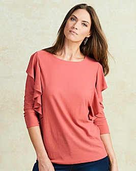 Dusky Pink Long Sleeve Ruffle Top