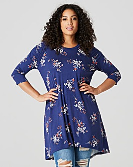 Navy Floral Ruched Shoulder Tunic