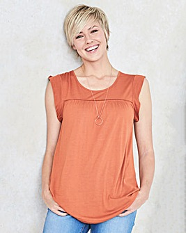 Terracotta Frill Sleeve Ladder Trim Top
