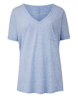 Blue Linen Mix V-neck T-shirt