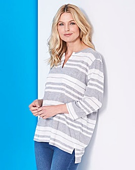 Grey Stripe 3/4 Sleeve Grandad Top