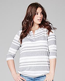 Stripe 3/4 Sleeve Grandad Top