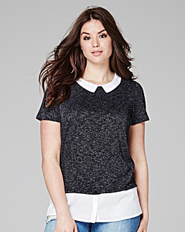 Navy - Collar Top