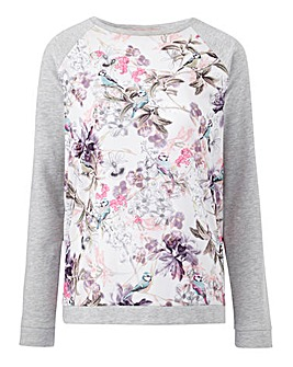 Ivory Print Woven Front Sweatshirt