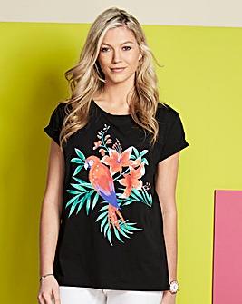 Parrot Sequin Print T-shirt