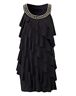 Black Embellished Neck Ruffle Tunic