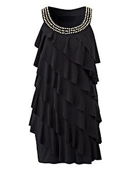 Black Embellished Neck Ruffle Tunic