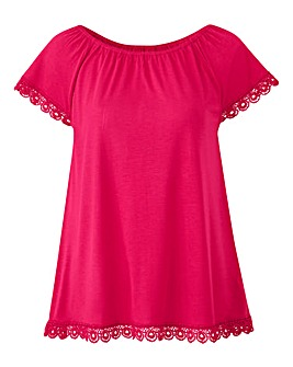Pink Crochet Trim Gypsy Top