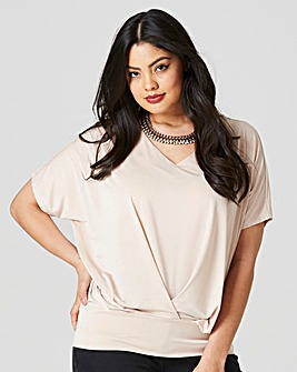 Nude Pleat Front Hem Top