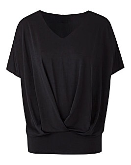 Black Pleat Front Hem Top