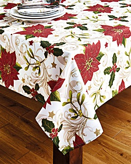 Holly Poinsettia Tablecloth