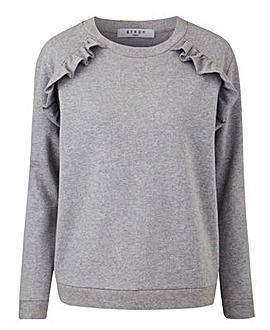 Grey Marl Ruffle Shoulder Sweatshirt
