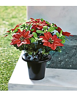 Christmas Memorial Flowers Grave Pot