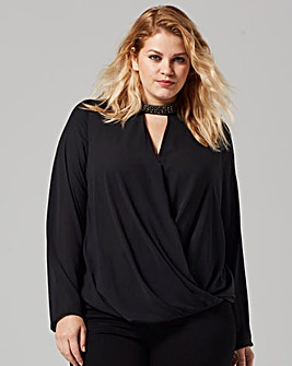 Lovedrobe Embellished Tab Neck Blouse