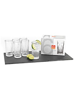 Set Of 6 Crystal Fire High Ball Glasses