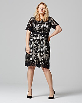 Lovedrobe Crochet Contrast Midi Dress