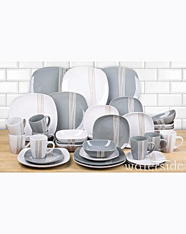 32 Piece Mimi Grey and White Dinner Set