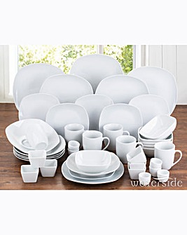 42 Piece Simply White Square Dinner Set