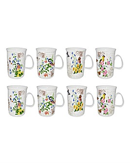 Set of 8 Garden Bird Mugs
