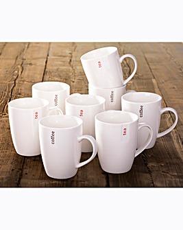 Set of 8 Everyday Script Mugs