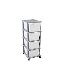 4 Drawer Plastic Storage Unit - Silver