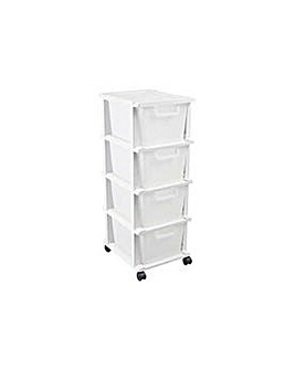 4 Drawer Plastic Storage Unit - White