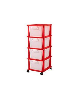 4 Drawer Plastic Storage Unit - Red