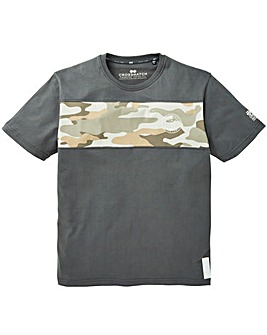 Crosshatch Camo Back Print T-Shirt