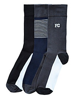 French Connection 3 Pack Stripe Socks