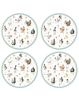 Wrendale Farmyard Feathers Placemats x4