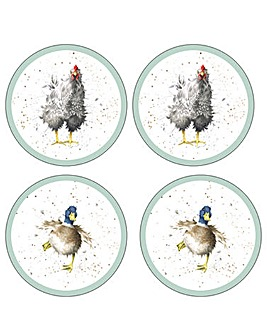 Wrendale Farmyard Feathers Coasters x4