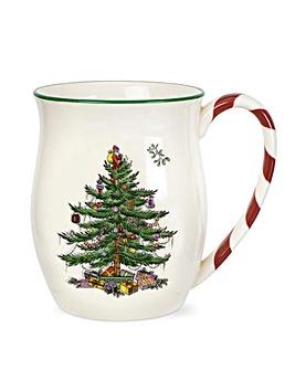 Christmas Tree Mug Peppermint Handles x4